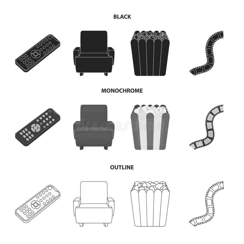 Пульт управления, кресло для осматривать, попкорн Значки собрания комплекта фильмов и кино в черной, monochrome, стиль плана иллюстрация вектора