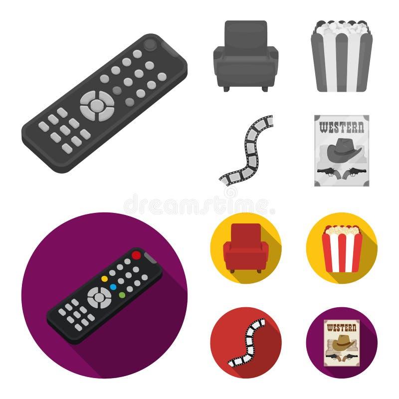 Пульт управления, кресло для осматривать, попкорн Значки собрания комплекта фильмов и кино в monochrome, плоском векторе стиля бесплатная иллюстрация