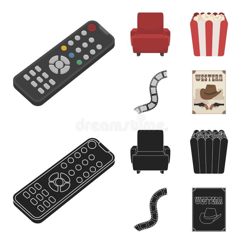 Пульт управления, кресло для осматривать, попкорн Значки собрания комплекта фильмов и кино в шарже, черном векторе стиля иллюстрация вектора