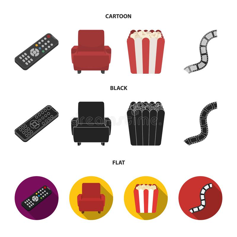 Пульт управления, кресло для осматривать, попкорн Значки собрания комплекта фильмов и кино в шарже, черноте, плоском векторе стил иллюстрация вектора