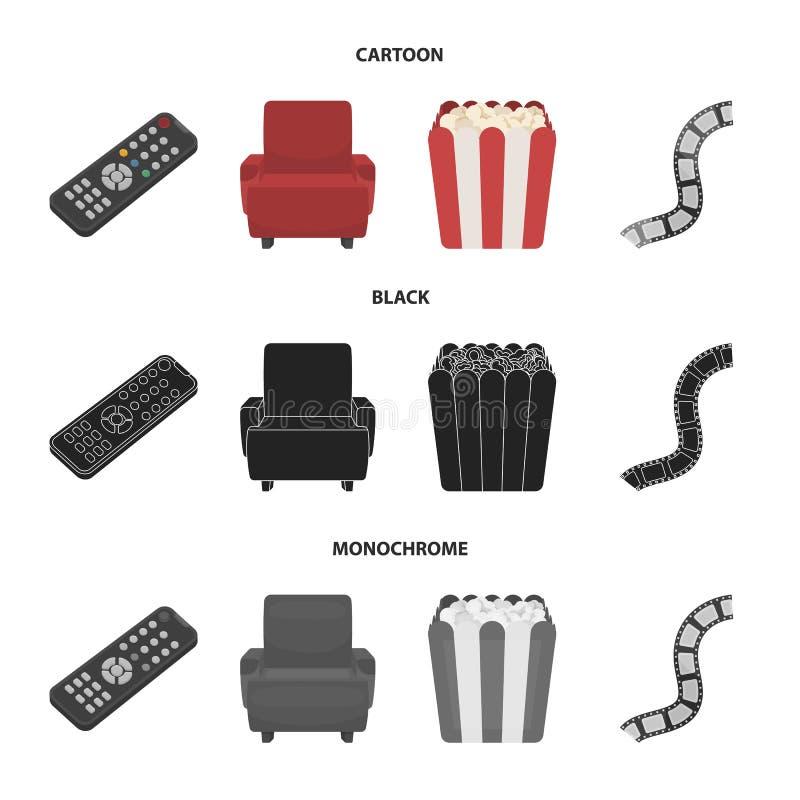 Пульт управления, кресло для осматривать, попкорн Значки собрания комплекта фильмов и кино в шарже, черноте, monochrome стиле иллюстрация штока