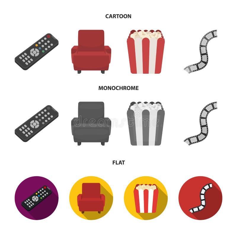 Пульт управления, кресло для осматривать, попкорн Значки собрания комплекта фильмов и кино в шарже, плоском, monochrome стиле иллюстрация вектора