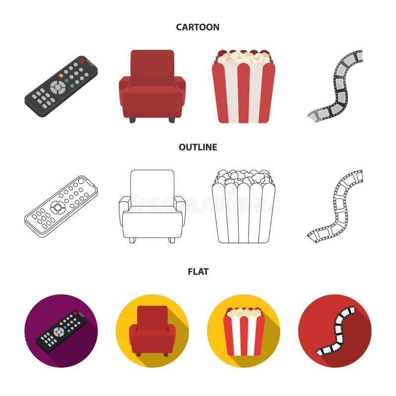 Пульт управления, кресло для осматривать, попкорн Значки собрания комплекта фильмов и кино в шарже, плане, плоском стиле иллюстрация вектора