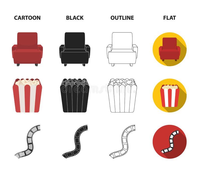 Пульт управления, кресло для осматривать, попкорн Значки собрания комплекта фильмов и кино в шарже, черноте, плане, плоском иллюстрация штока