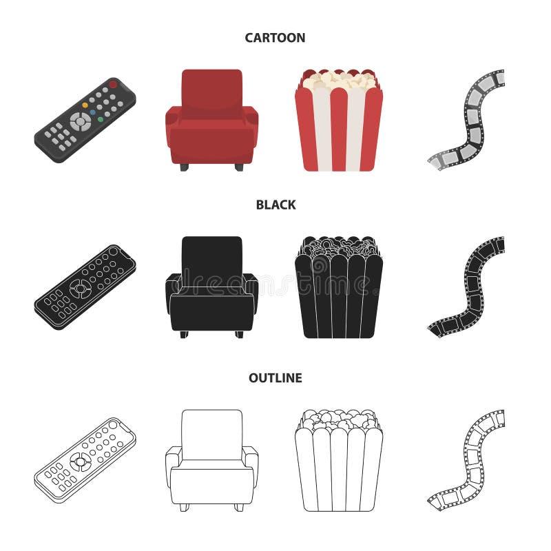 Пульт управления, кресло для осматривать, попкорн Значки собрания комплекта фильмов и кино в шарже, черноте, стиле плана иллюстрация вектора