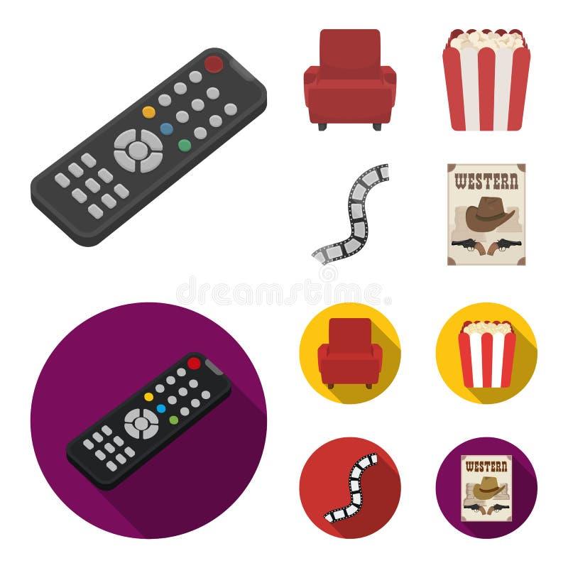 Пульт управления, кресло для осматривать, попкорн Значки собрания комплекта фильмов и кино в шарже, плоском векторе стиля бесплатная иллюстрация
