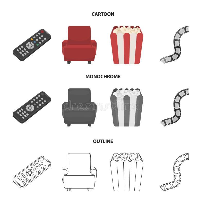 Пульт управления, кресло для осматривать, попкорн Значки собрания комплекта фильмов и кино в шарже, плане, monochrome иллюстрация вектора