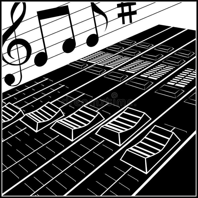 Пульт управления студии или DJ иллюстрация вектора