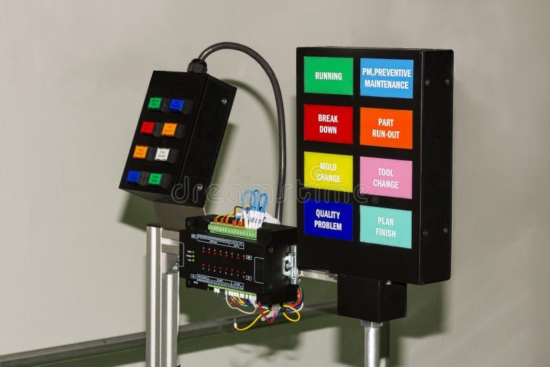 Пульт управления электрический с оборудованием регулятора plc на мастерской стоковая фотография