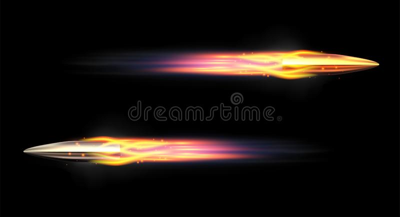 Пуля вектора реалистическая Пуля летая с пламенистой трассировкой Сияющие пули винтовки иллюстрация вектора