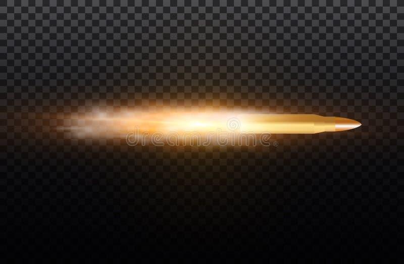 Пуля летания с следом пыли Изолированный на черной прозрачной предпосылке также вектор иллюстрации притяжки corel бесплатная иллюстрация