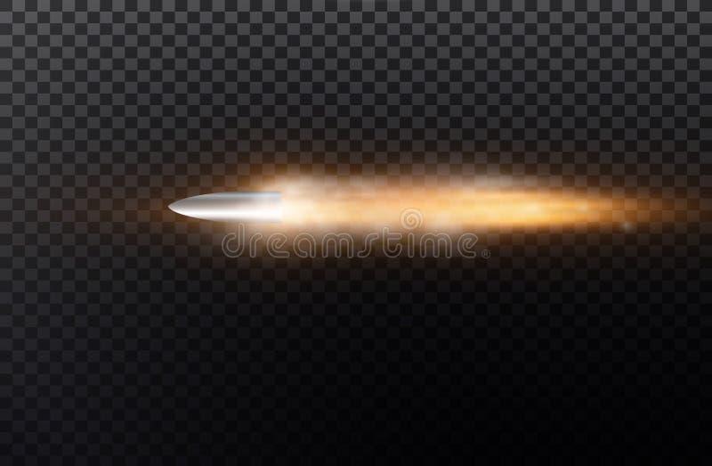 Пуля летания с следом пыли Изолированный на черной прозрачной предпосылке также вектор иллюстрации притяжки corel иллюстрация вектора