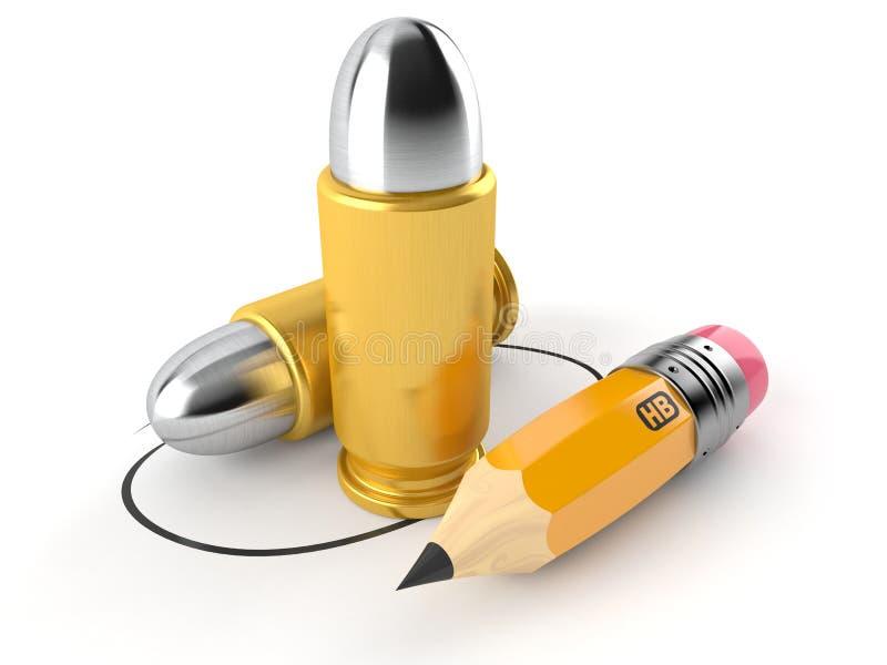 Пуля с карандашем иллюстрация штока