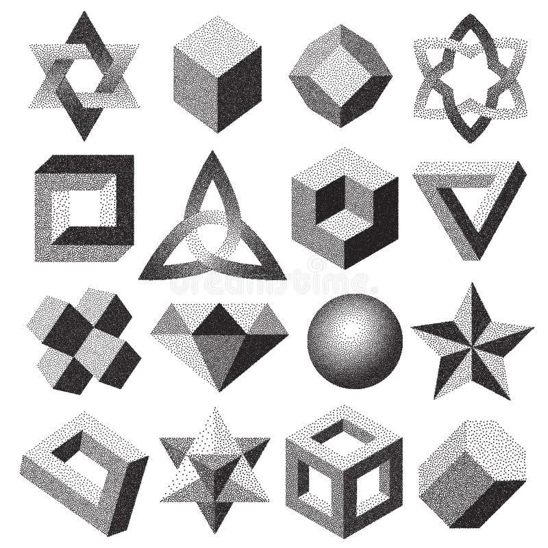 Пунктированное полутоновое изображение поставило точки геометрическая диаграмма петля узла торуса безграничности форм иллюзии 3d  иллюстрация вектора