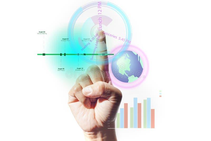 Пунктуальность используя технологию в цифровом мире Интерфейс пальца касающий указывать индекса перста Действие экрана касания с  стоковое фото