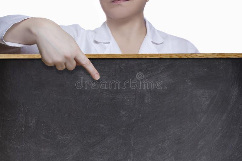 Пункты доктора женщины с пальцем стоковое фото rf