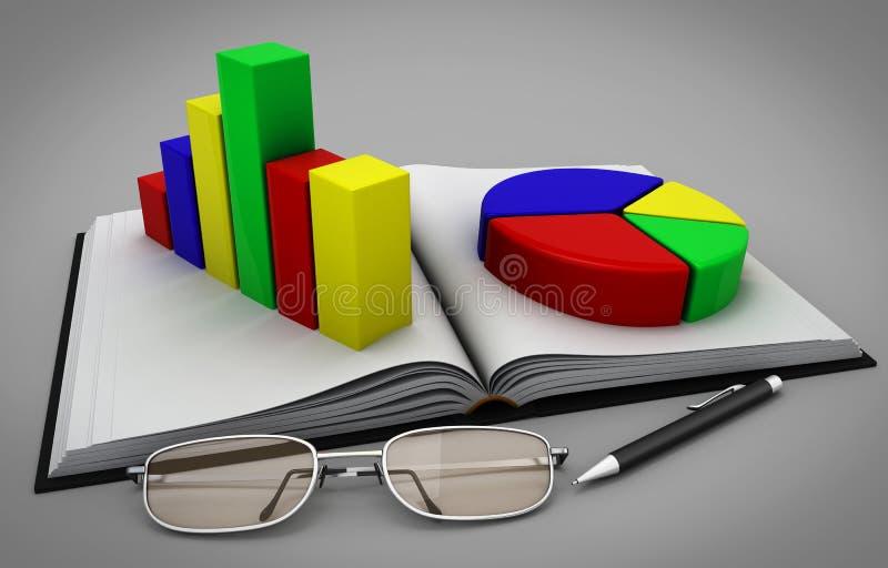 Пункты и ручка около тетради с план-графиками иллюстрация штока