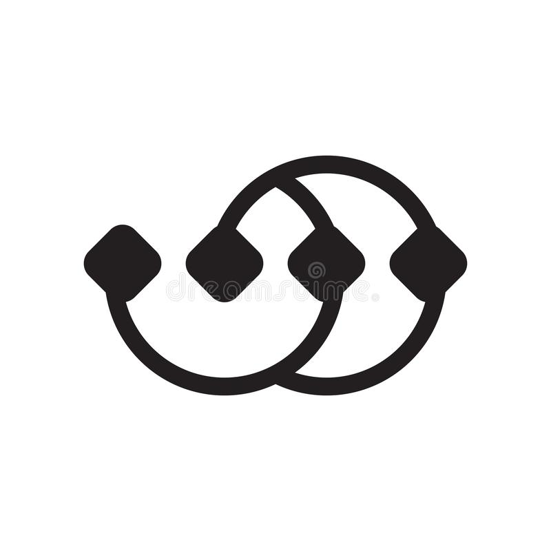 Пункты подключили знак и символ вектора значка диаграммы на w иллюстрация штока
