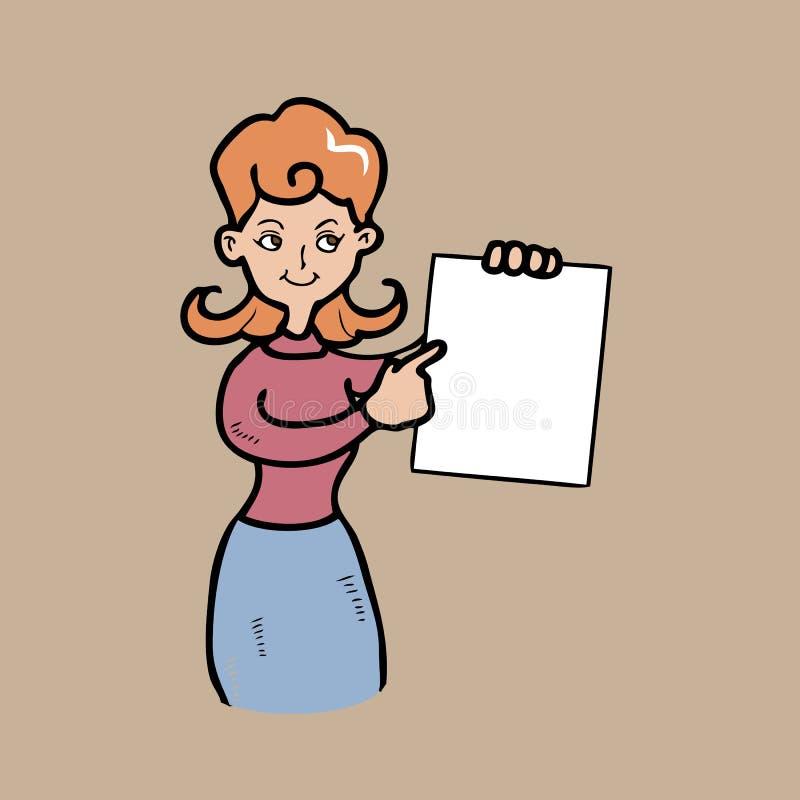 Пункт женщины на листе иллюстрация вектора