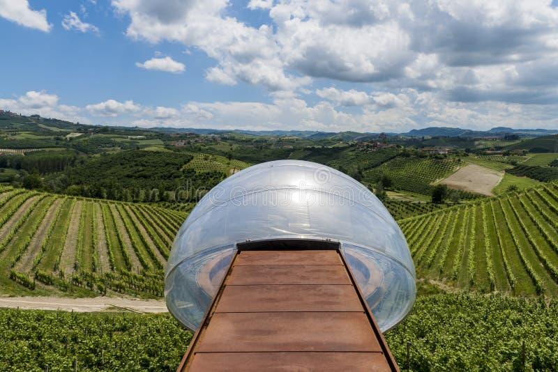 Пункт и виноградники withView винодельни Ceretto стоковые фотографии rf