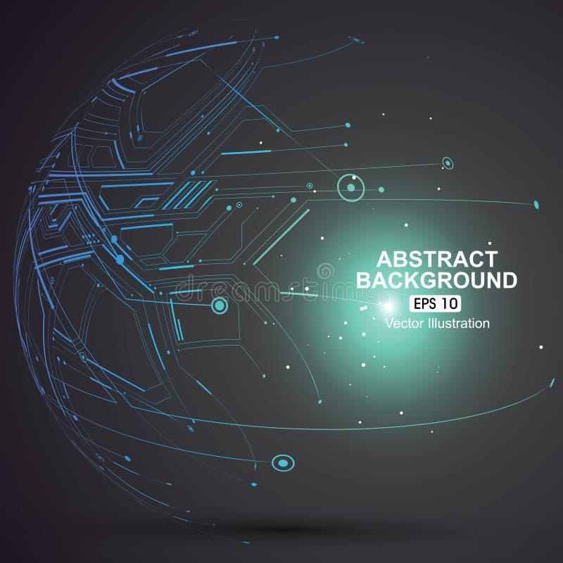 Пункт и кривая построили wireframe сферы, технологическую иллюстрацию конспекта чувства иллюстрация штока