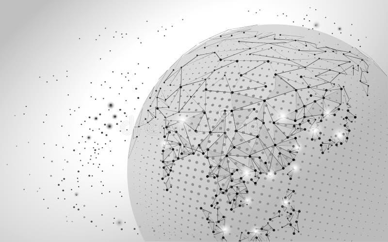 Пункт карты мира, линия, состав, представляя глобальное соединение глобальной вычислительной сети, международный смысл бесплатная иллюстрация
