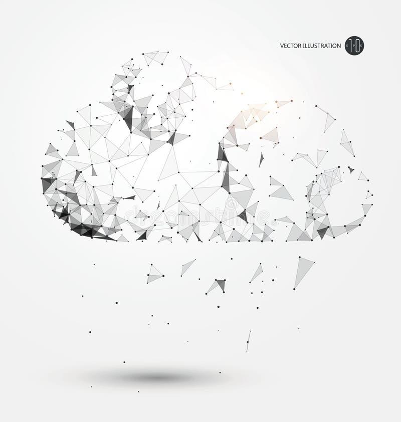 Пункт, линия, поверхностное соединение от облака, иллюстрация вектора науки и техники бесплатная иллюстрация