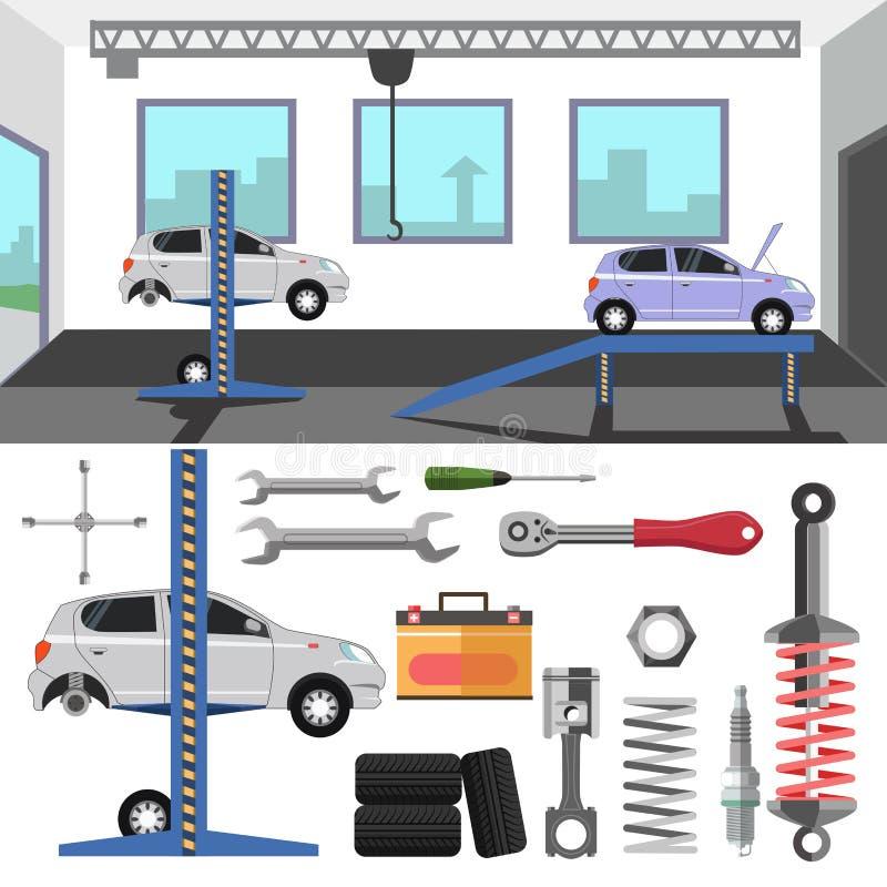 Пункт обслуживания автошины автомобиля иллюстрация вектора