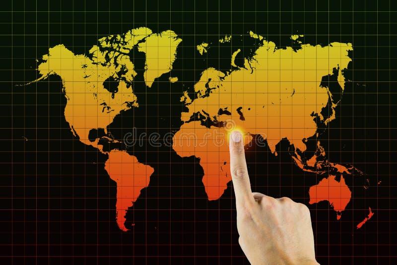 Пункт пальца к Ближний Востоку стоковые изображения rf