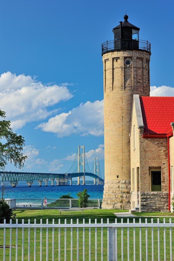 пункт mackinaw mackinac маяка города старый стоковое фото