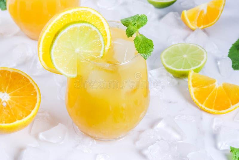 Пунш цитруса лета с апельсинами и известкой стоковое фото rf