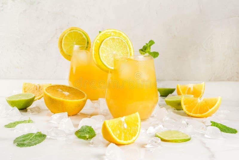 Пунш цитруса лета с апельсинами и известкой стоковое фото