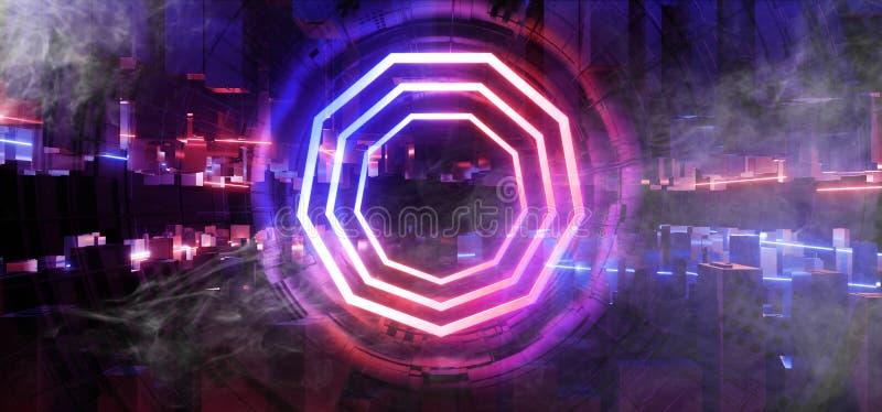 Пурпура конструкции Sci Fi космического корабля чужеземца этапа дыма неоновый накаляя неон лазерных лучей футуристического голубо бесплатная иллюстрация
