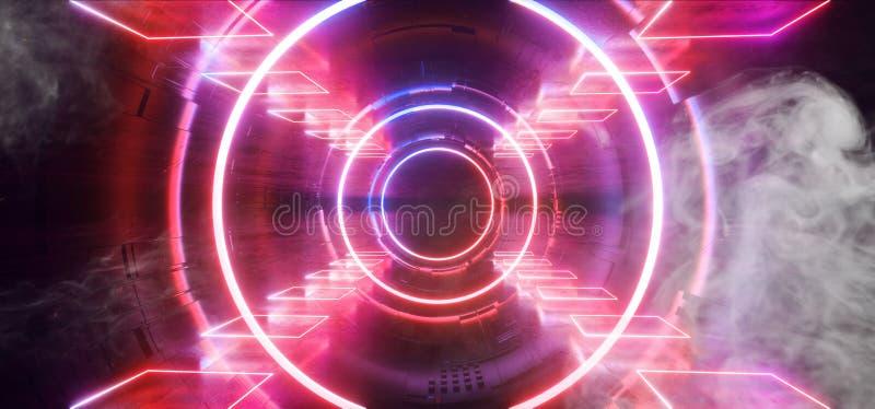 Пурпура конструкции Sci Fi космического корабля чужеземца этапа дыма неоновый накаляя неон лазерных лучей футуристического голубо иллюстрация вектора