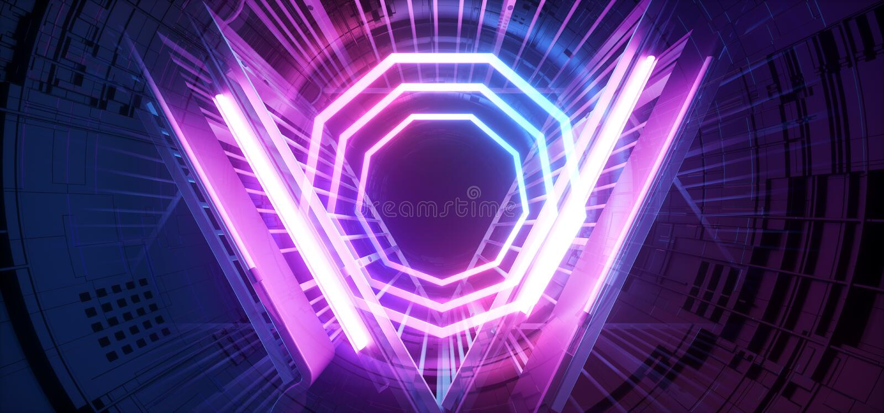 Пурпура конструкции Sci Fi космического корабля чужеземца этапа неоновый накаляя город лазерных лучей футуристического голубой на иллюстрация штока