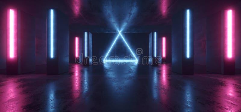 Пурпура Grunge этапа клуба космического корабля чужеземца Sci Fi треугольника лазер темного футуристического неонового ретро конк бесплатная иллюстрация