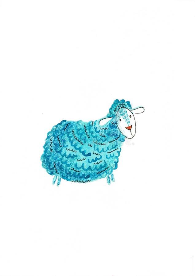 Пурпурная акварель овец и цифровое изображение Художественное произведение средств массовой информации руки вычерченное для ткане иллюстрация штока