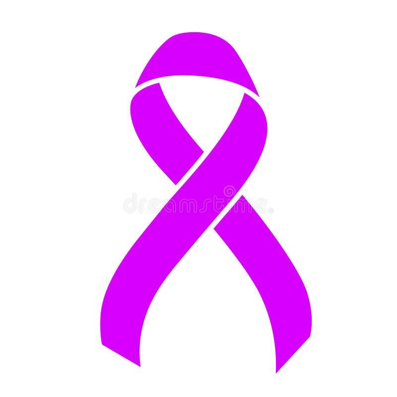 Пурпурная лента Концепция здравоохранения и медицины Осведомленность рака желудка иллюстрация штока