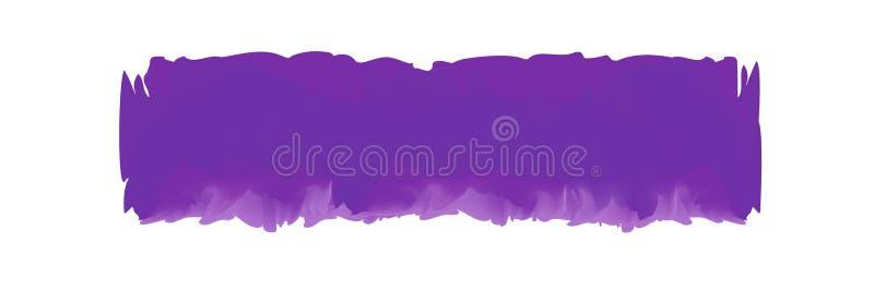 Пурпурная нашивка покрашенная в акварели на чистой белой предпосылке, пурпурных ходах щетки акварели, кисти иллюстрации иллюстрация вектора
