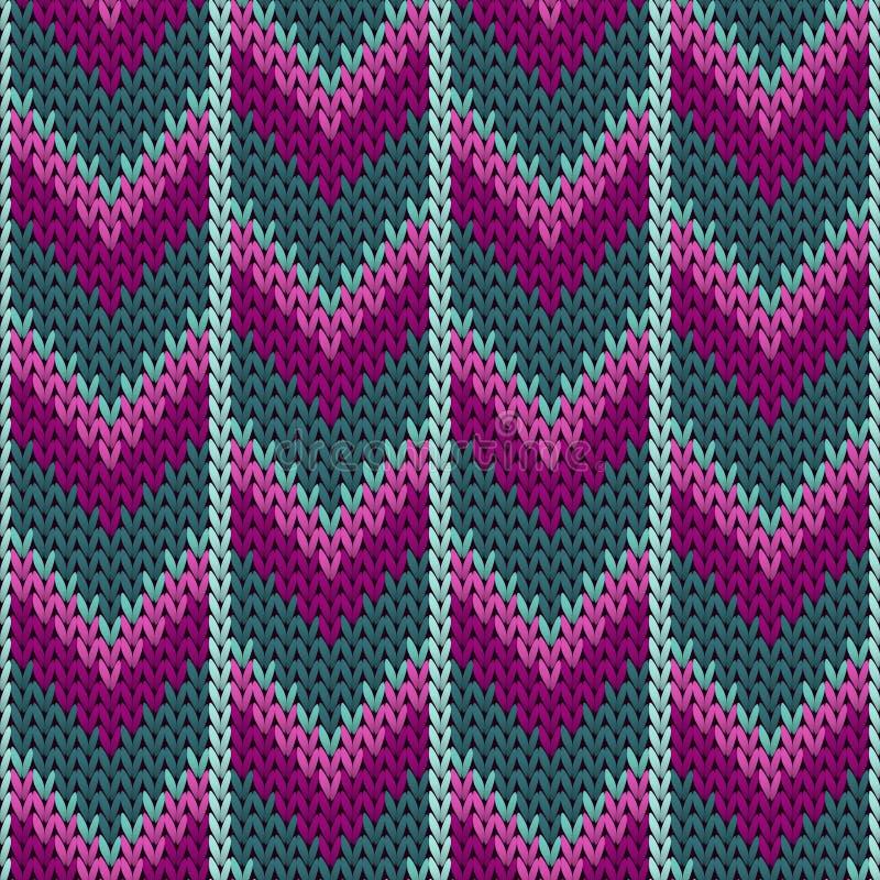 Пурпурная печать ткани knitwear прыгуна зимы teal Связанная норвежцем безшовная картина свитера в традиционном стиле рождества иллюстрация штока
