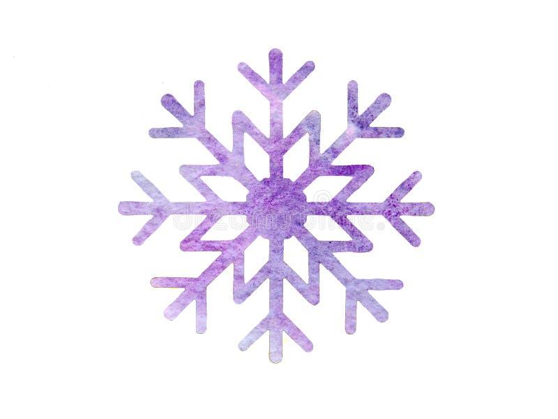 Пурпурная снежинка акварели стоковая фотография rf