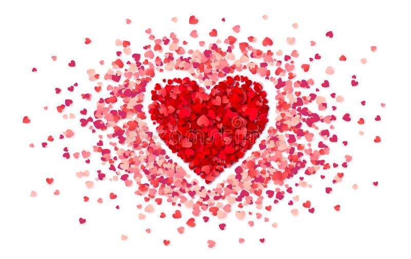 Пурпурное сердце confetti в рамке маленьких розовых сердец, шаблоне карты дня Святого Валентина вектора иллюстрация штока