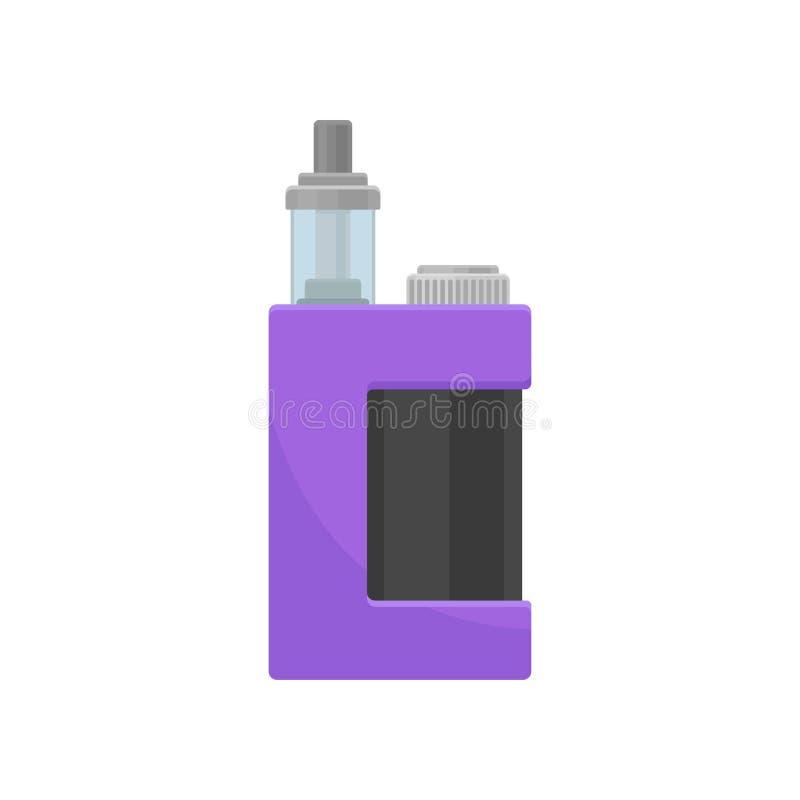 Пурпурный вапоризатор со стекольной ванной для жидкости сигарета электронная Прибор для vaping Плоский дизайн вектора иллюстрация вектора