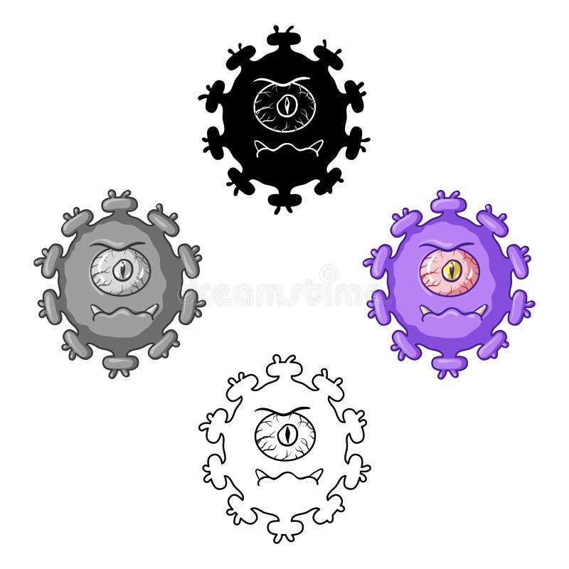 Пурпурный значок вируса в мультфильме, черном стиле изолированном на белой предпосылке Вирусы и вектор запаса символа bacteries иллюстрация вектора