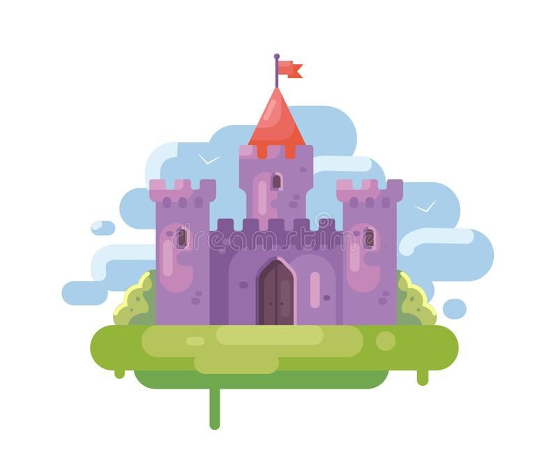 Пурпурный остров замка иллюстрация штока