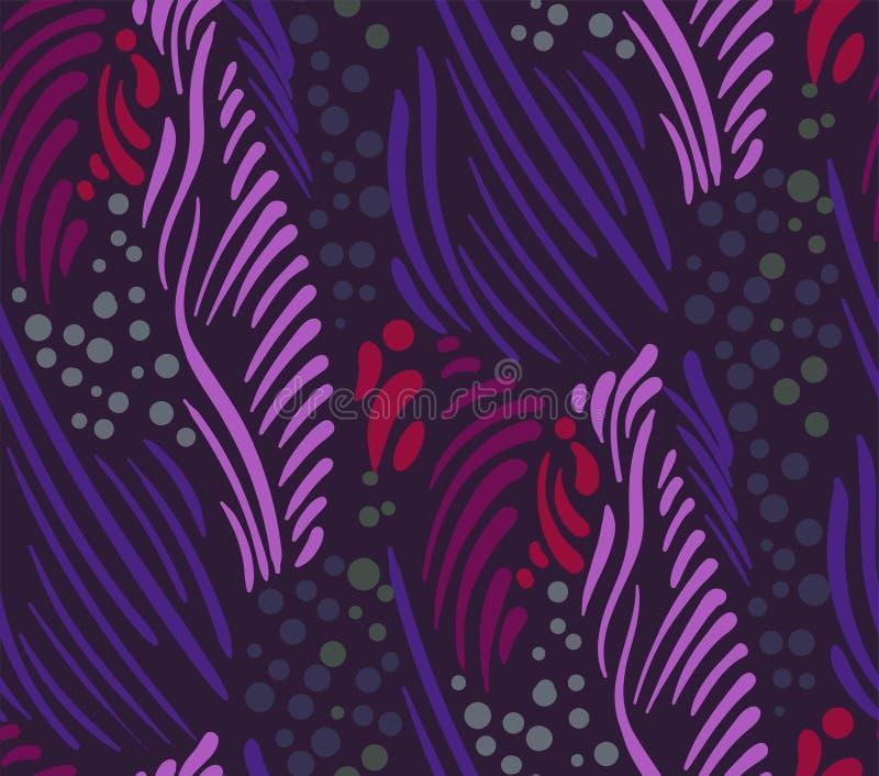 Пурпурный фиолетовый безшовный скандинав флористического дизайна вектора картины примитивный иллюстрация вектора