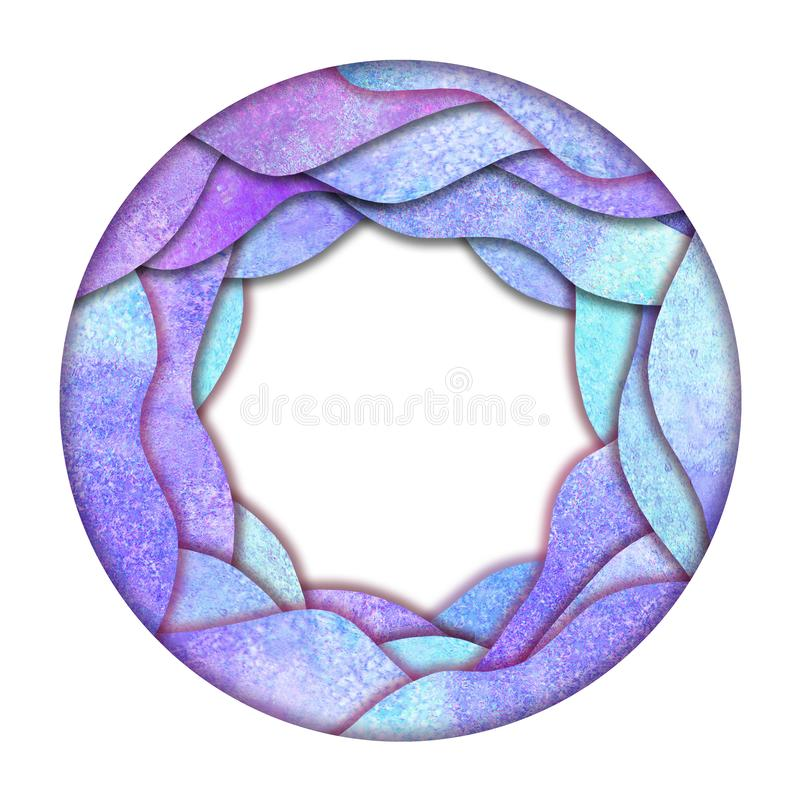 Пурпурный шаблон дизайна логотипа круга лаванды Рамка акварели круглая иллюстрация вектора