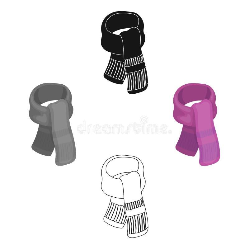 Пурпурный шарф плюша для женщин Значок шарфов и шалей одиночный в мультфильме, черной иллюстрации запаса символа вектора стиля иллюстрация штока