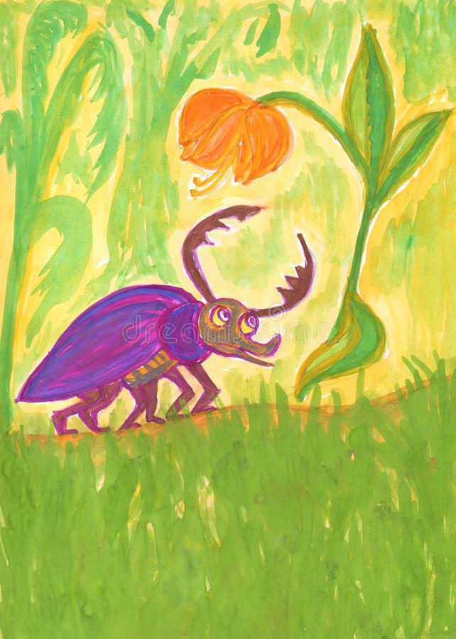 Пурпурный horned жук смотрит оранжевый цветок бесплатная иллюстрация