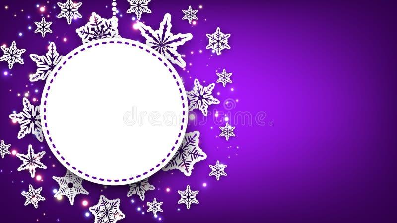 Пурпуровая предпосылка рождества с снежинками иллюстрация штока